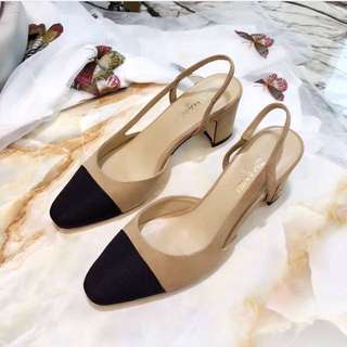 Stylish shoes kitten heels nude slingback