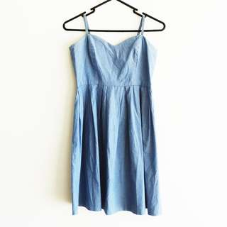 Sportsgirl Size 6 Light Denim Dress with Sweetheart Neckline and Spaghetti Straps