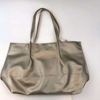 Saks fifth avenue (Saks 5th Ave ) Tote Bag Medium Size Leather gold 手提包中號皮革黃金色