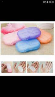 [LAST 3 PCS] TRAVEL/BEAUTY PRODUCT - Easy to carry &  Convenient Paper Soap Sheets With Case For Sale
