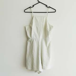 Lee Size S White Denim Romper/Playsuit/Jumpsuit