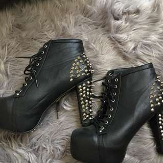 Black pleather studded platform heels