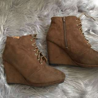 Chocolate brown suede booties