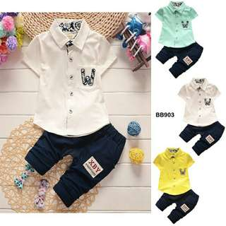 👉BABY BOY CLOTHES 2PCS SET BB903- SKM👈