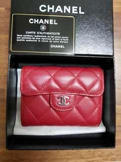 🚚 出清價8000就賣CHANEL 深桃紅色羊皮3層零錢包