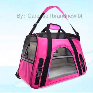 Pet Carrier Bag Pet bag Portable Net Bag for Dog & Cat magenta pink