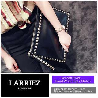 Larriez Korean Black Rivet Clutch / Wrist Bag