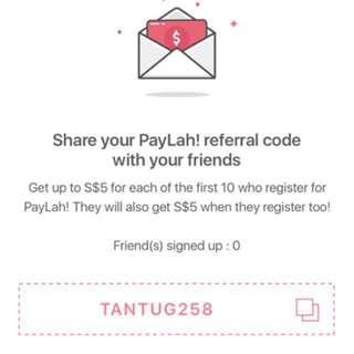 PayLah Credits $5 *literally FREE Money*