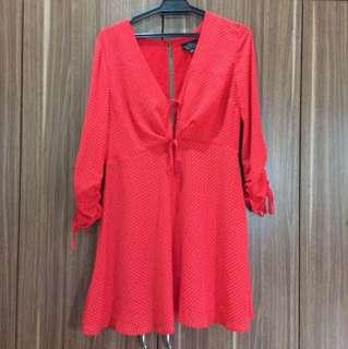 Topshop Red Polka Dot Dress Petite UK12