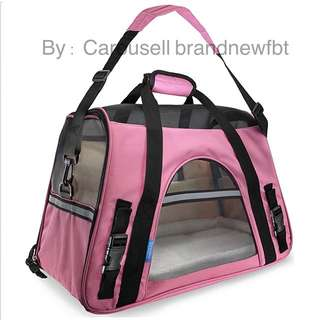 Pet Carrier Bag Pet bag Portable Net Bag for Dog & Cat pink