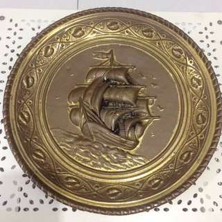BRASS Plate with Sail Ship Design