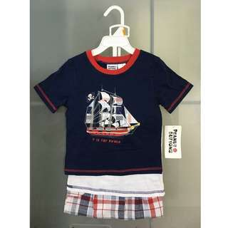 Peanut Buttons Pirate 3-Pc Tops & Bottom Set for 3y