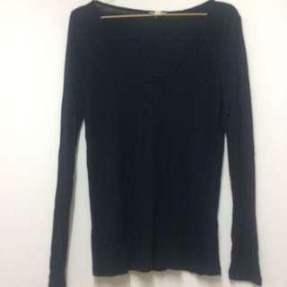 T Shirt Long sleeves Black H-81 Size M