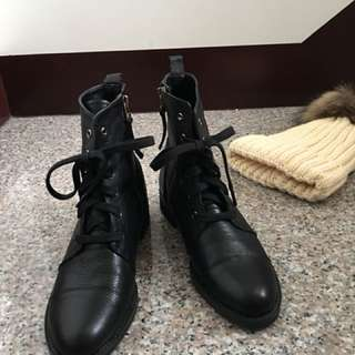 全新 正韓 羊皮綁帶中筒靴/軍靴