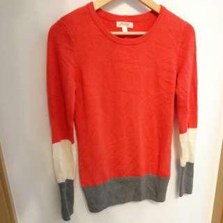 JeansWest 桃紅條紋拼接衣袖冷織針織長身上衣 shocking pink knit long top E