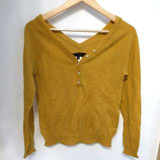 b+ab 芥辣黃v領針織冷織上衣 mustard yellow knit top size 38 E