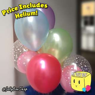 7 x Balloons (Form Rainbow colors) Plus 2 Balloons within Balloon Package | Helium Filled | Perfect for Birthday Parties | My Jolly Box 98573128