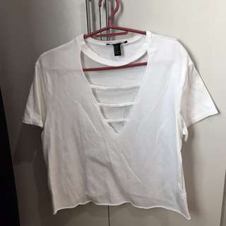 F21 deep v white shirt