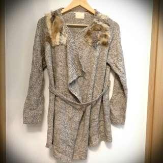 E 淺灰兔毛針織冷織修腰長身 不規則 外套 irregular grey gray fur knit knitted cardigan long jacket