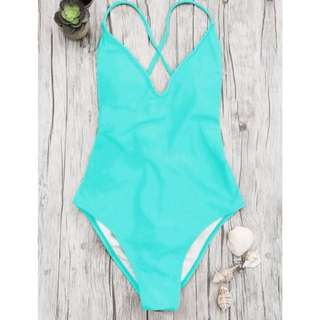 ZAFUL Turquoise strappy back one-piece