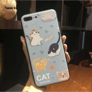 Cats Embossed Soft Rubber Case for iPhone 6, 6s, 7