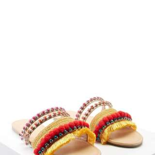 F21 fringe pompom sandals size US8 - BNWT