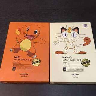 Tony Moly x Pokémon Masks (Charmander & Meowth)