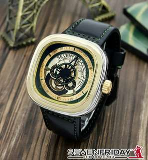 Jam Fashion Seven Friday 0127 Type Analog Bahan Tali Kulit + Kotak .  D = 5 cm  Ready 3 Warna Blue Green Yellow