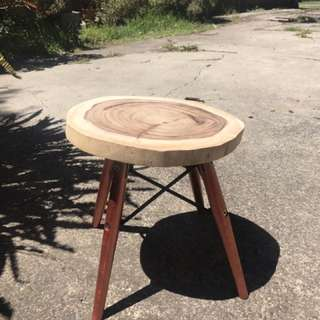 Rose gold foot stool with raw wooden foot rest