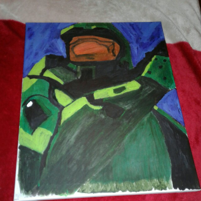 16 X 20 Halo 2 panting acrylic and oil pastel