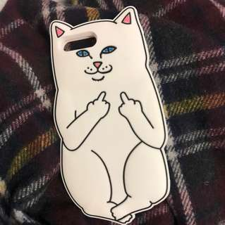 Middle fingered meow iPhone Case | iPhone 7plus | white