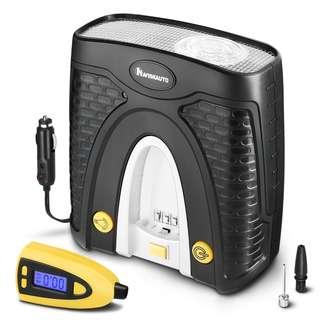 NAVISKAUTO 12V Tire Inflator Portable Auto Air Compressor with Detachable Tire Pressure Gauge and Carry Case - 100 PSI  --  495