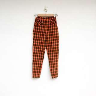 二手 橘色 格紋 高腰 長褲