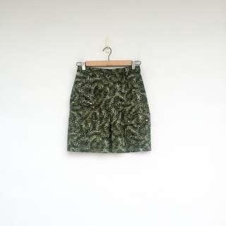 二手 綠色 小豹紋 彈性 高腰 短裙