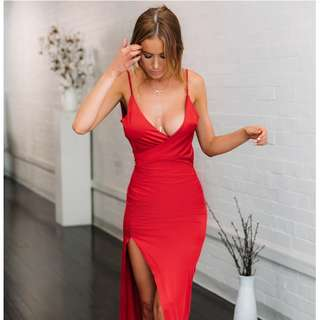 Red Silhouette Formal Dress