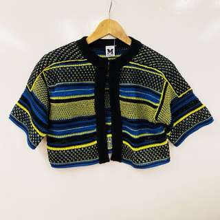 Missoni yellow blue and black small cardigan size 42