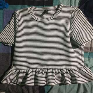H&M Divided Striped Black and White Ruffle Crop Top
