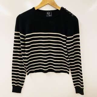 Alexander Mcqueen black with white stripes short sweater