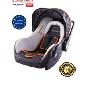Sweet Heart Paris Baby Car Seat (White Grey) with Sun Shade Canopy