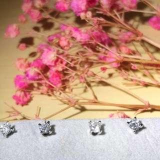 15份 ✨4爪耳環 💎天然真鑽石 9k白金