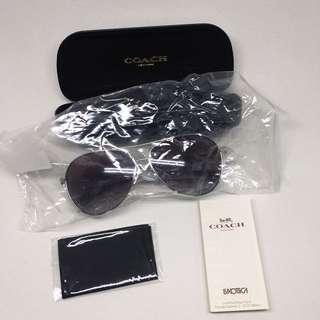COACH Silver Black Women's Metal Frame Sunglasses 太陽眼鏡
