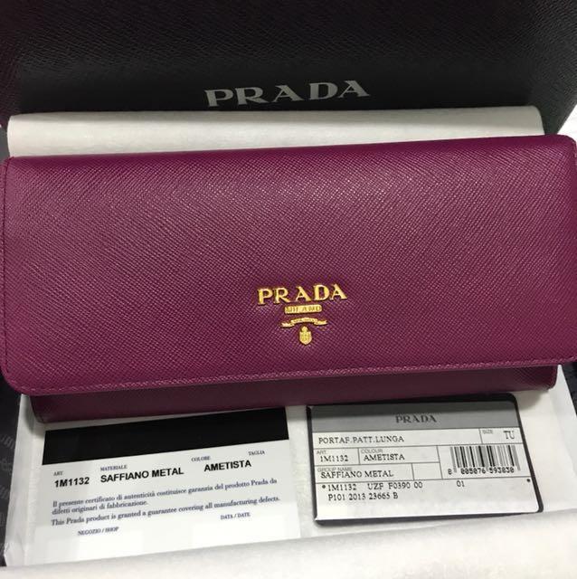 1de3d8923474e9 *Reduced*BNIB Prada Saffiano Metal Ametista 1M1132 Wallet, Luxury, Bags &  Wallets on Carousell