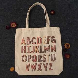 Alphabet Calico Bag