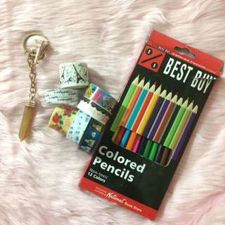 washi tape and colored pencils bundle