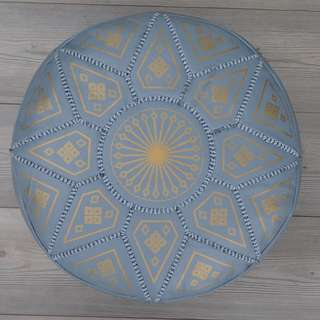 Moroccan Leather Footstool, Ottoman, Pouffe, Pouf - Grey.