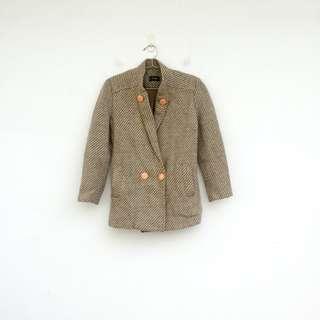 🚚 二手 毛料 米色 條紋 外套