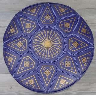 Moroccan Leather Footstool, Ottoman, Pouffe, Pouf - Purple.