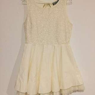Cream Backless Tutu Dress