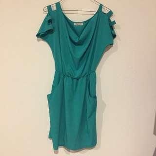 Aqua Green Off The Shoulder Dress