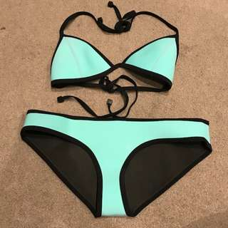 Triangl Bikini Top & Bottom Size Small Aqua 100% Authentic